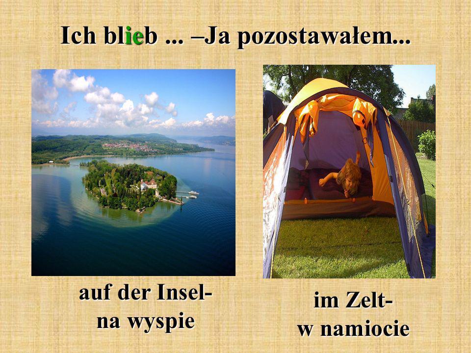 Ich blieb... –Ja pozostawałem... auf der Insel- na wyspie im Zelt- w namiocie