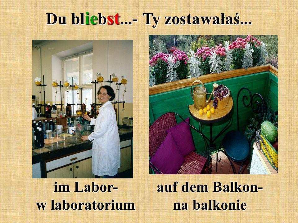 Du bl ie b st...- Ty zostawałaś... im Labor- w laboratorium auf dem Balkon- na balkonie
