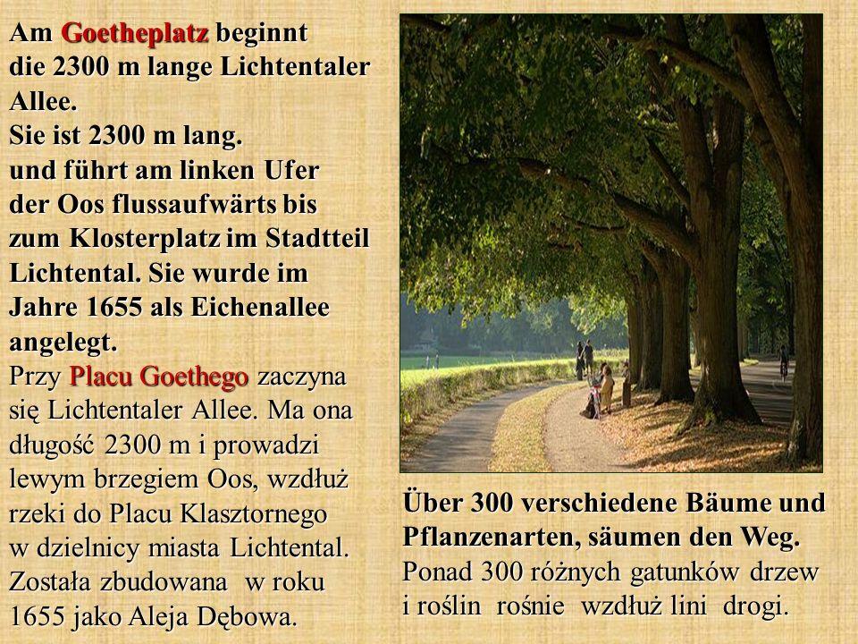 Am Goetheplatz beginnt die 2300 m lange Lichtentaler Allee. Sie ist 2300 m lang. und führt am linken Ufer der Oos flussaufwärts bis zum Klosterplatz i