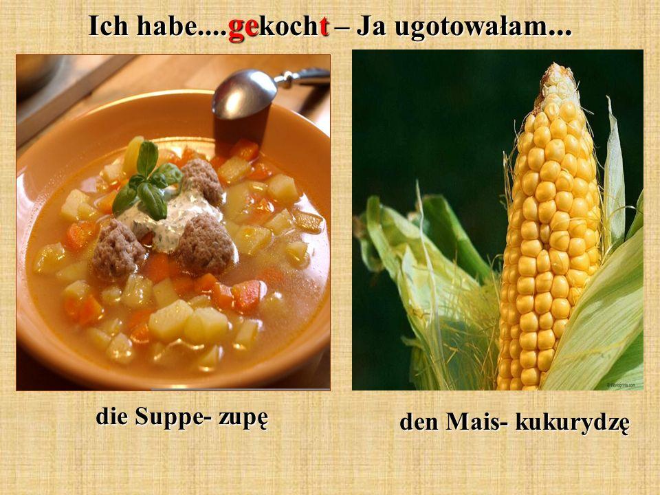 Ich habe.... ge kocht – Ja ugotowałam... die Suppe- zupę den Mais- kukurydzę