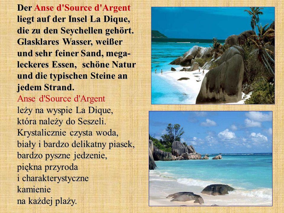 Der Anse d'Source d'Argent liegt auf der Insel La Dique, die zu den Seychellen gehört. Glasklares Wasser, weißer und sehr feiner Sand, mega- leckeres