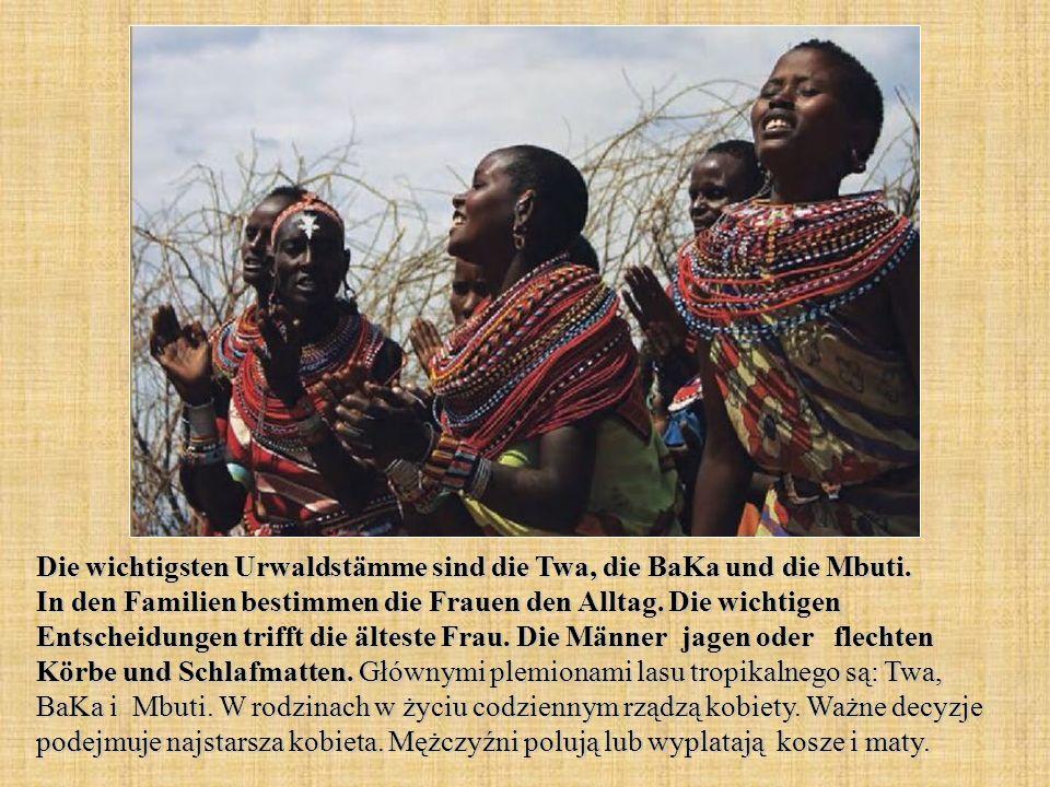 Die wichtigsten Urwaldstämme sind die Twa, die BaKa und die Mbuti.