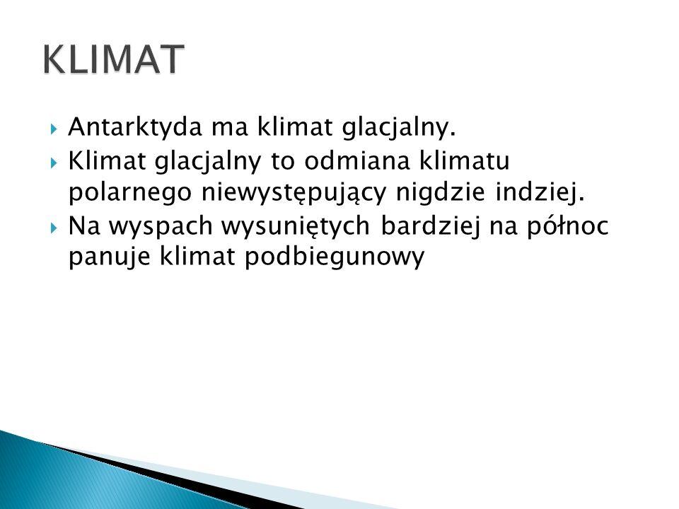 Antarktyda ma klimat glacjalny. Klimat glacjalny to odmiana klimatu polarnego niewystępujący nigdzie indziej. Na wyspach wysuniętych bardziej na półno