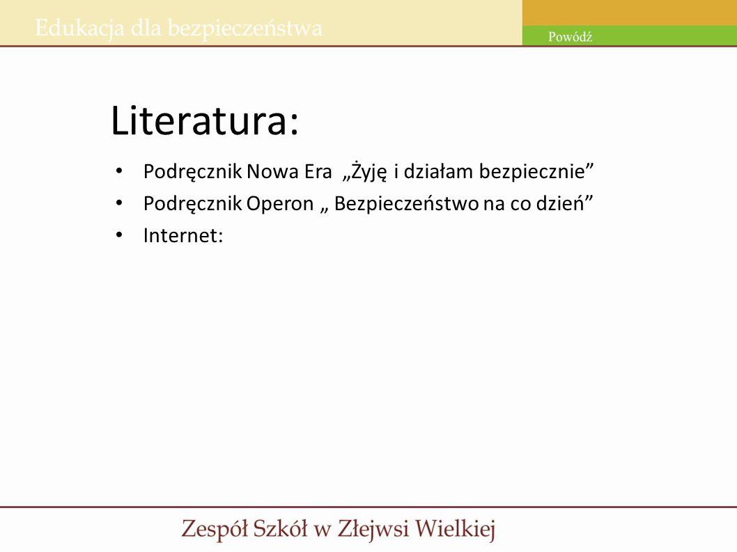 Literatura: Podręcznik Nowa Era Żyję i działam bezpiecznie Podręcznik Operon Bezpieczeństwo na co dzień Internet: