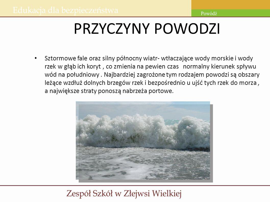 PRZYCZYNY POWODZI Sztormowe fale oraz silny północny wiatr- wtłaczające wody morskie i wody rzek w głąb ich koryt, co zmienia na pewien czas normalny