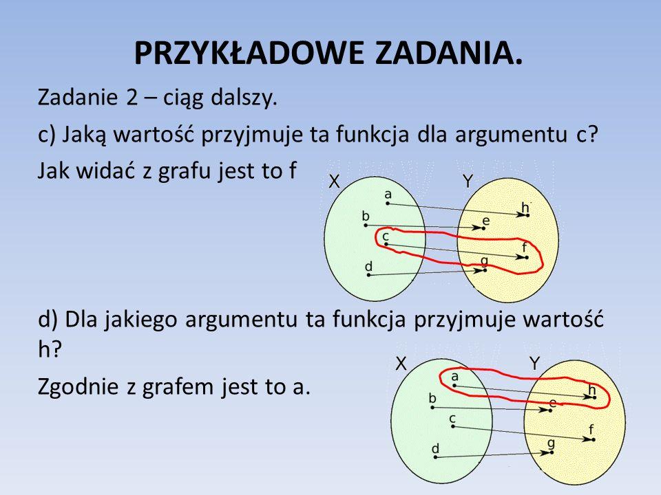 PRZYKŁADOWE ZADANIA. Zadanie 2 – ciąg dalszy. c) Jaką wartość przyjmuje ta funkcja dla argumentu c? Jak widać z grafu jest to f d) Dla jakiego argumen