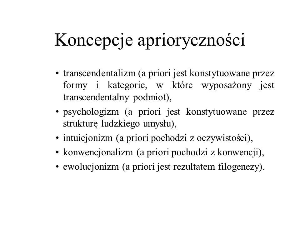 Koncepcje aprioryczności transcendentalizm (a priori jest konstytuowane przez formy i kategorie, w które wyposażony jest transcendentalny podmiot), ps