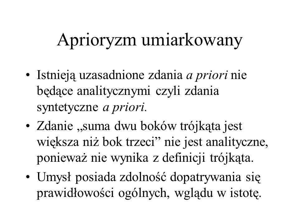 Aprioryzm umiarkowany Istnieją uzasadnione zdania a priori nie będące analitycznymi czyli zdania syntetyczne a priori. Zdanie suma dwu boków trójkąta