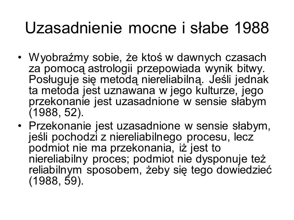 Uzasadnienie mocne i słabe 1988 Wyobraźmy sobie, że ktoś w dawnych czasach za pomocą astrologii przepowiada wynik bitwy. Posługuje się metodą nierelia
