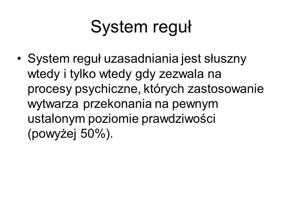 System reguł System reguł uzasadniania jest słuszny wtedy i tylko wtedy gdy zezwala na procesy psychiczne, których zastosowanie wytwarza przekonania n