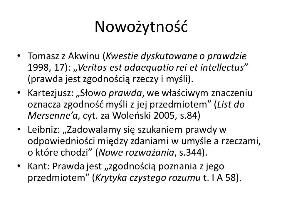 Nowożytność Tomasz z Akwinu (Kwestie dyskutowane o prawdzie 1998, 17): Veritas est adaequatio rei et intellectus (prawda jest zgodnością rzeczy i myśli).