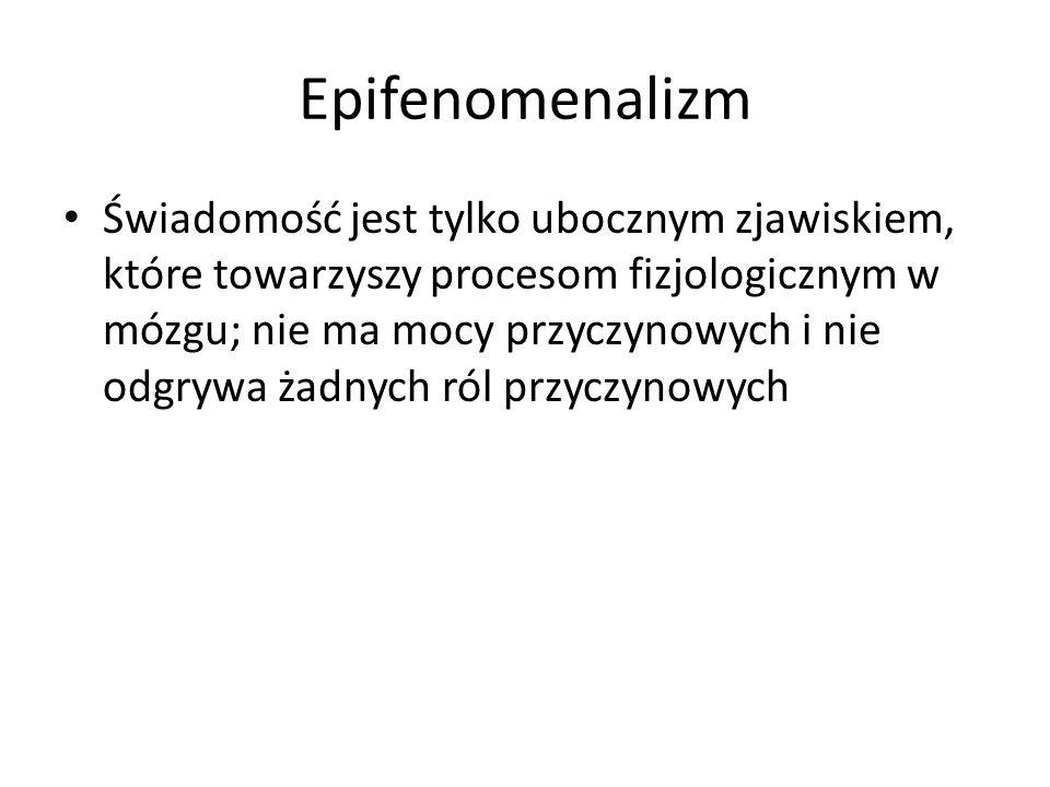 Epifenomenalizm Świadomość jest tylko ubocznym zjawiskiem, które towarzyszy procesom fizjologicznym w mózgu; nie ma mocy przyczynowych i nie odgrywa ż