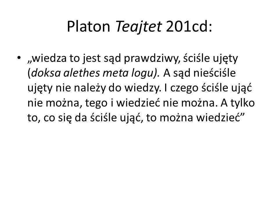 Platon Teajtet 201cd: wiedza to jest sąd prawdziwy, ściśle ujęty (doksa alethes meta logu).