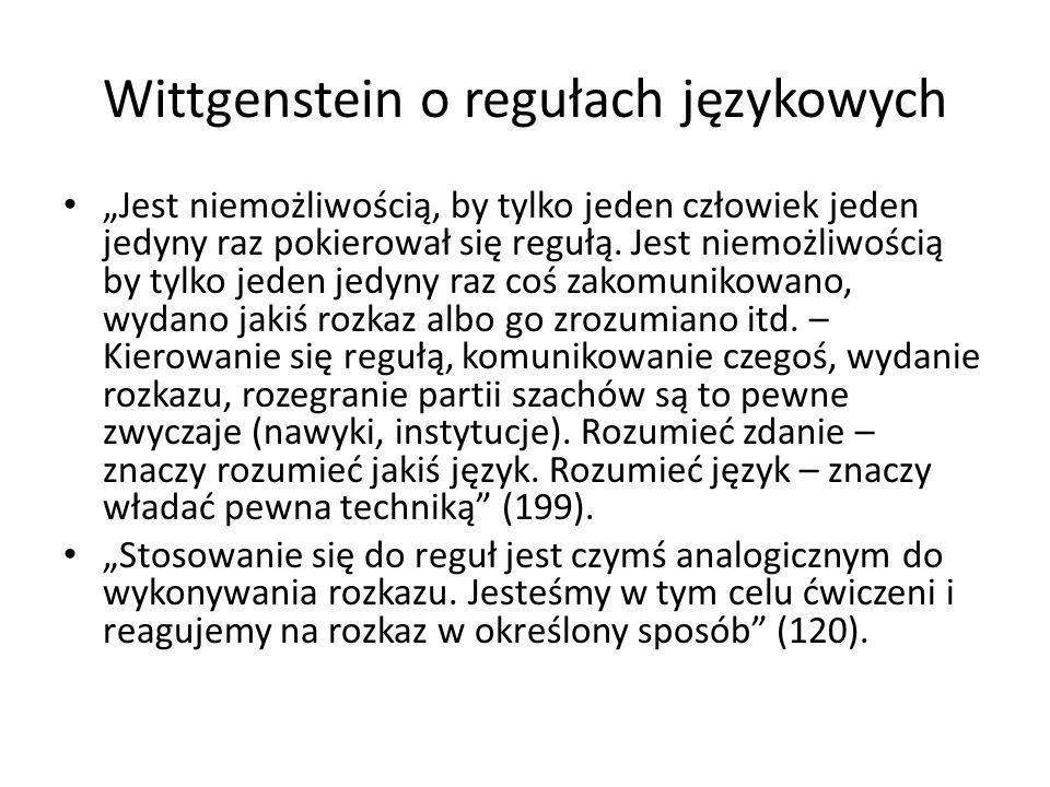 Wittgenstein o niemożliwości języka prywatnego Wyobraźmy sobie, że prowadzę dziennik nawrotów pewnego doznania.