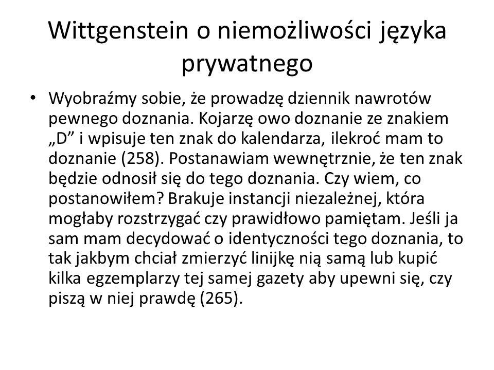 Dwa pojęcia języka węższe (język publiczny) szersze (także język myśli - Fodor).