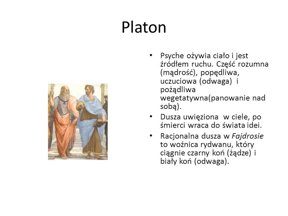 Platon Psyche ożywia ciało i jest źródłem ruchu. Część rozumna (mądrość), popędliwa, uczuciowa (odwaga) i pożądliwa wegetatywna(panowanie nad sobą). D