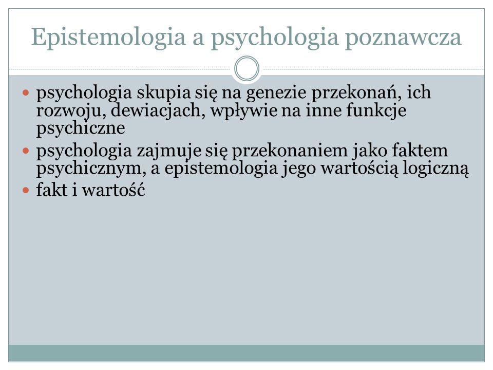 Epistemologia a psychologia poznawcza psychologia skupia się na genezie przekonań, ich rozwoju, dewiacjach, wpływie na inne funkcje psychiczne psychol