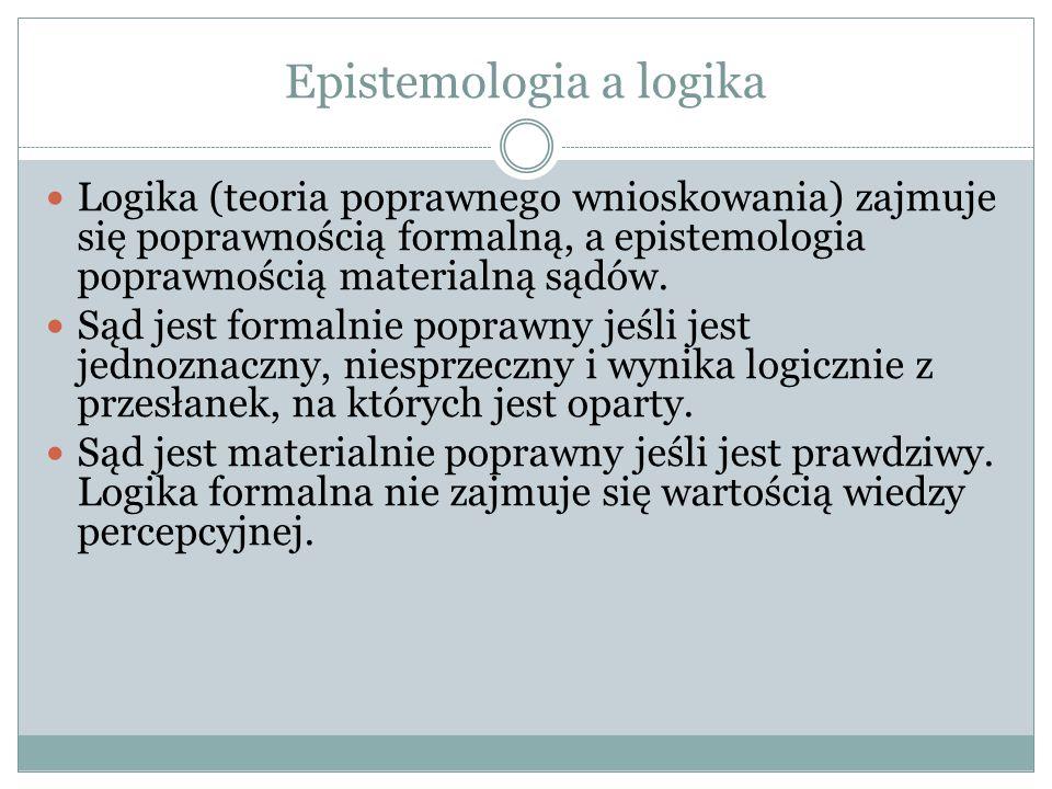 Epistemologia a logika Logika (teoria poprawnego wnioskowania) zajmuje się poprawnością formalną, a epistemologia poprawnością materialną sądów. Sąd j