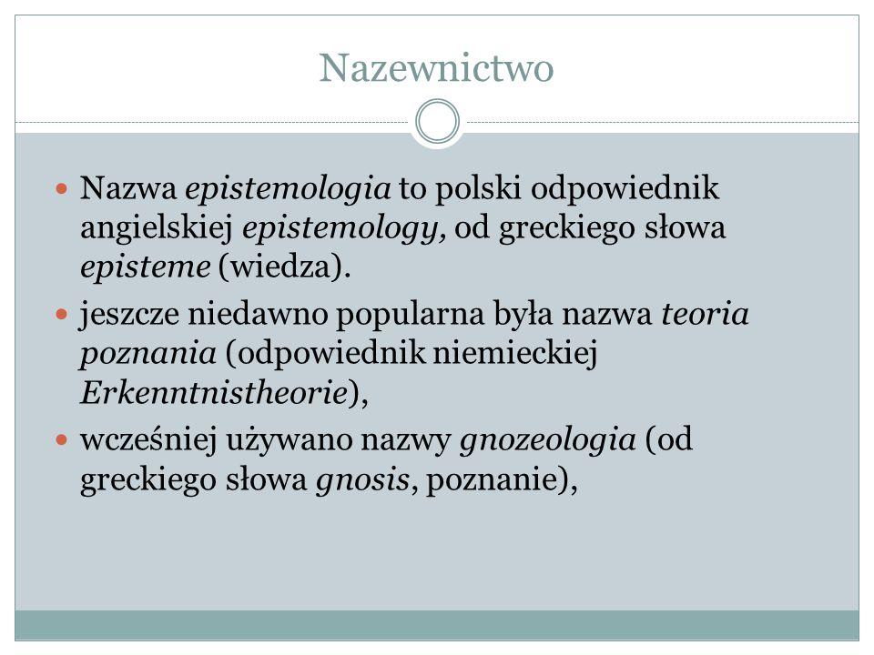 Nazewnictwo Nazwa epistemologia to polski odpowiednik angielskiej epistemology, od greckiego słowa episteme (wiedza). jeszcze niedawno popularna była