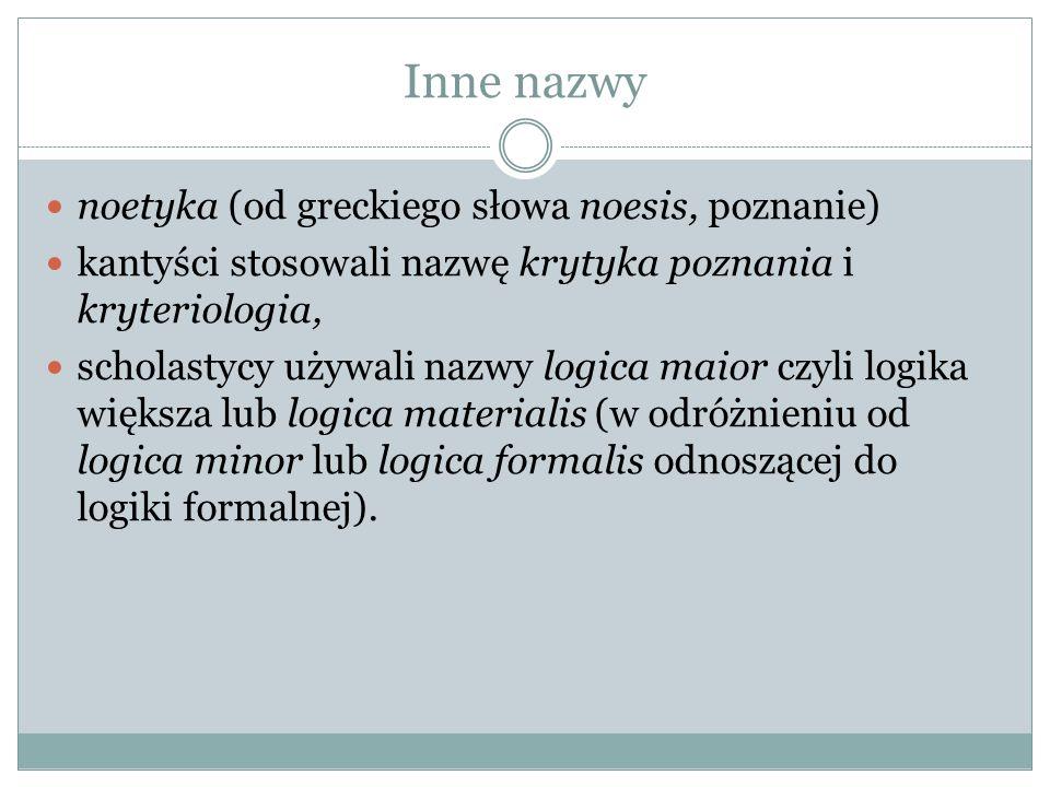 Inne nazwy noetyka (od greckiego słowa noesis, poznanie) kantyści stosowali nazwę krytyka poznania i kryteriologia, scholastycy używali nazwy logica m