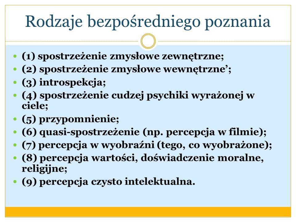 Rodzaje bezpośredniego poznania (1) spostrzeżenie zmysłowe zewnętrzne; (2) spostrzeżenie zmysłowe wewnętrzne; (3) introspekcja; (4) spostrzeżenie cudzej psychiki wyrażonej w ciele; (5) przypomnienie; (6) quasi-spostrzeżenie (np.