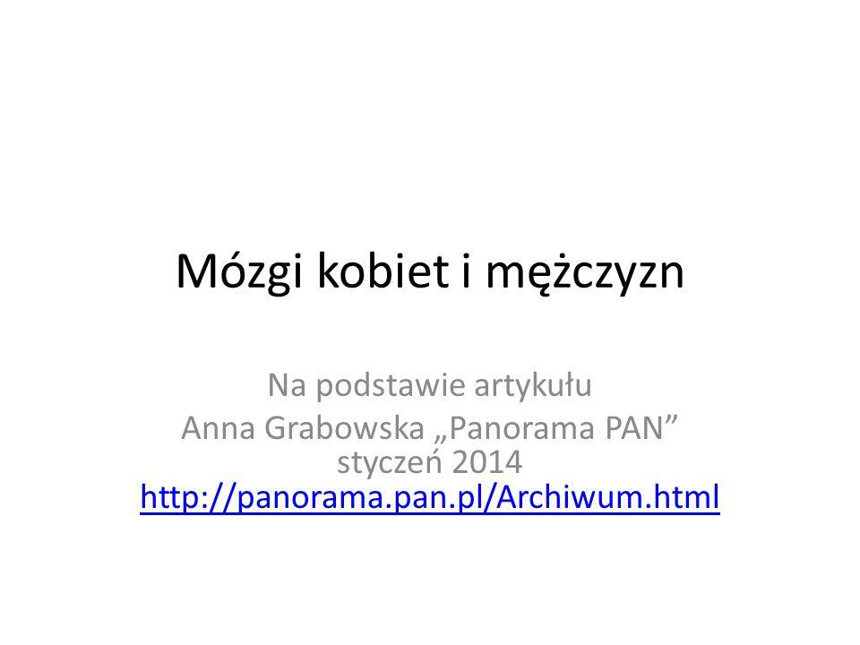 Mózgi kobiet i mężczyzn Na podstawie artykułu Anna Grabowska Panorama PAN styczeń 2014 http://panorama.pan.pl/Archiwum.html http://panorama.pan.pl/Archiwum.html