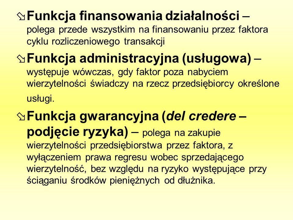 Funkcja finansowania działalności – polega przede wszystkim na finansowaniu przez faktora cyklu rozliczeniowego transakcji Funkcja administracyjna (us