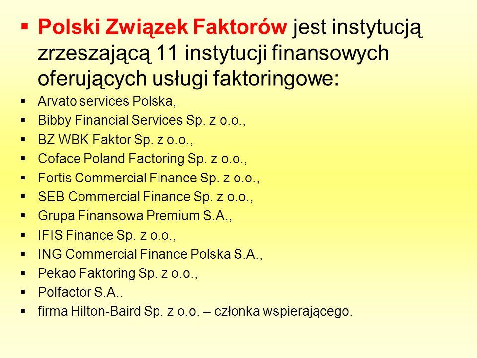 Polski Związek Faktorów jest instytucją zrzeszającą 11 instytucji finansowych oferujących usługi faktoringowe: Arvato services Polska, Bibby Financial