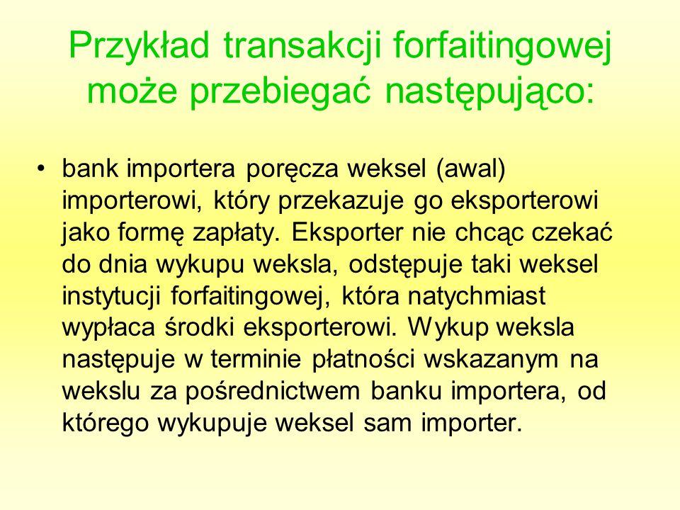 Przykład transakcji forfaitingowej może przebiegać następująco: bank importera poręcza weksel (awal) importerowi, który przekazuje go eksporterowi jak