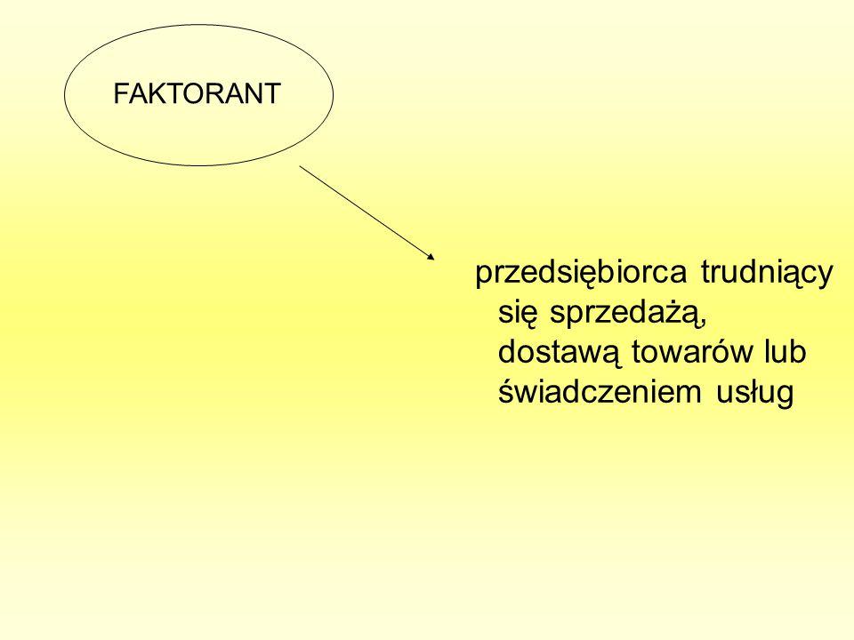przedsiębiorca trudniący się sprzedażą, dostawą towarów lub świadczeniem usług FAKTORANT