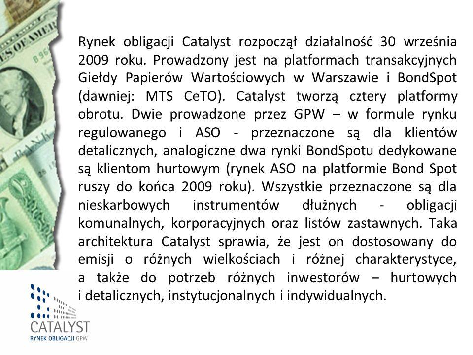 Rynek obligacji Catalyst rozpoczął działalność 30 września 2009 roku. Prowadzony jest na platformach transakcyjnych Giełdy Papierów Wartościowych w Wa