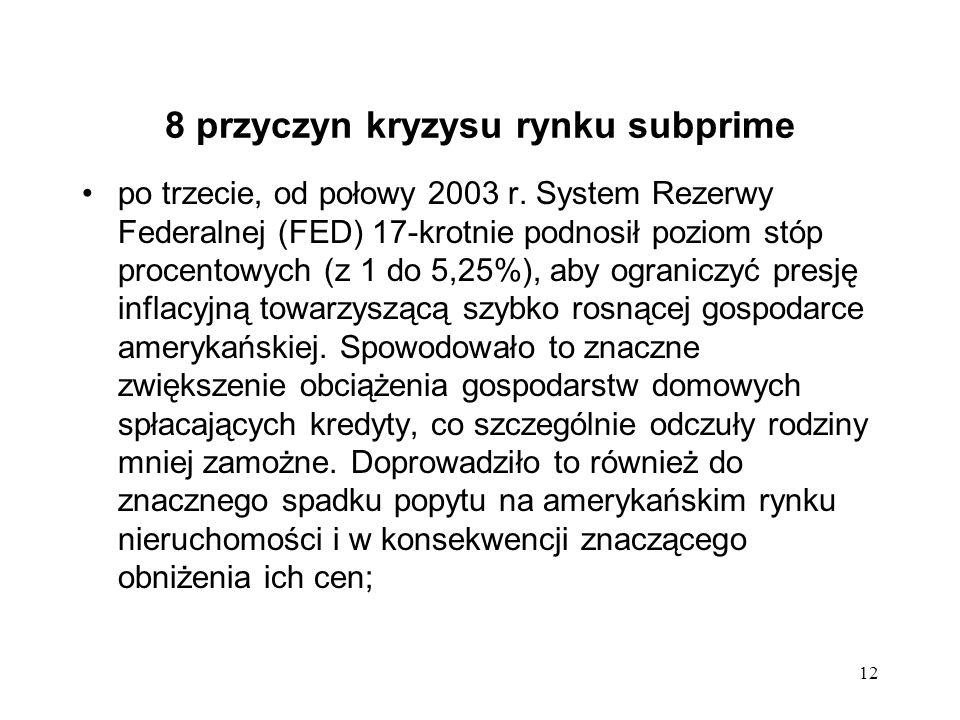 12 8 przyczyn kryzysu rynku subprime po trzecie, od połowy 2003 r. System Rezerwy Federalnej (FED) 17-krotnie podnosił poziom stóp procentowych (z 1 d