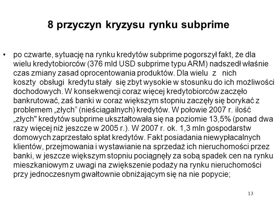 13 8 przyczyn kryzysu rynku subprime po czwarte, sytuację na rynku kredytów subprime pogorszył fakt, że dla wielu kredytobiorców (376 mld USD subprime