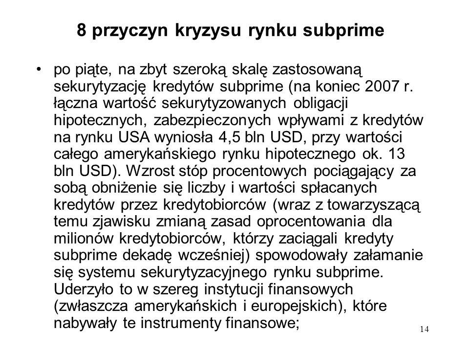 14 8 przyczyn kryzysu rynku subprime po piąte, na zbyt szeroką skalę zastosowaną sekurytyzację kredytów subprime (na koniec 2007 r. łączna wartość sek