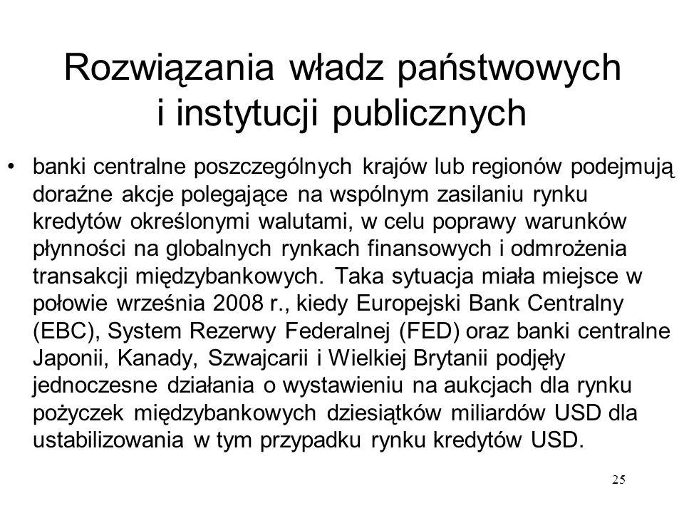 25 Rozwiązania władz państwowych i instytucji publicznych banki centralne poszczególnych krajów lub regionów podejmują doraźne akcje polegające na wsp