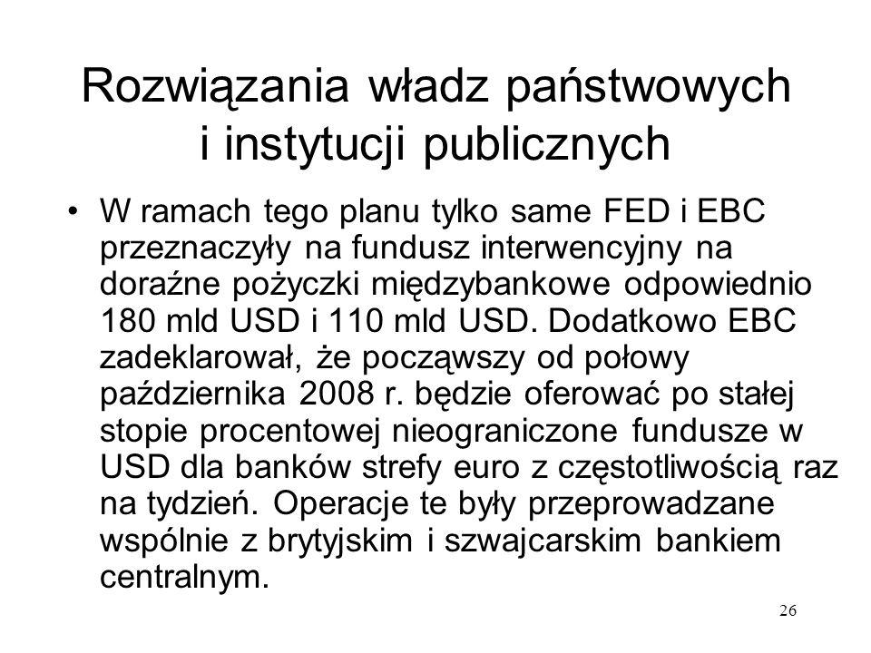 26 Rozwiązania władz państwowych i instytucji publicznych W ramach tego planu tylko same FED i EBC przeznaczyły na fundusz interwencyjny na doraźne po