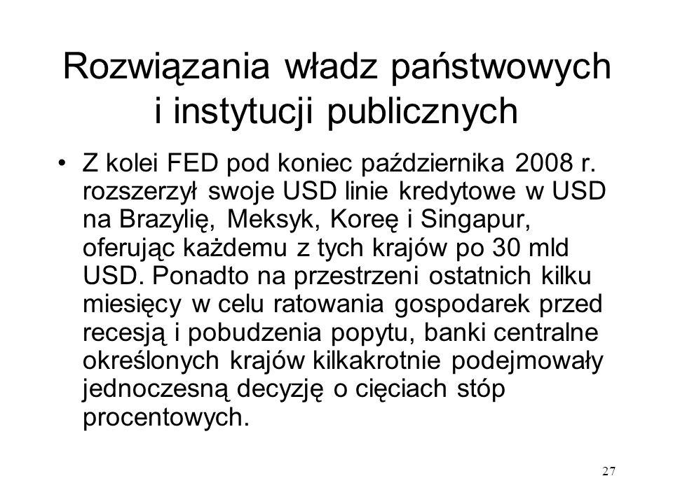 27 Rozwiązania władz państwowych i instytucji publicznych Z kolei FED pod koniec października 2008 r. rozszerzył swoje USD linie kredytowe w USD na Br