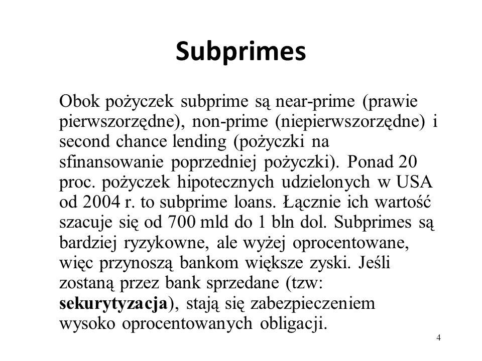 4 Subprimes Obok pożyczek subprime są near-prime (prawie pierwszorzędne), non-prime (niepierwszorzędne) i second chance lending (pożyczki na sfinansow