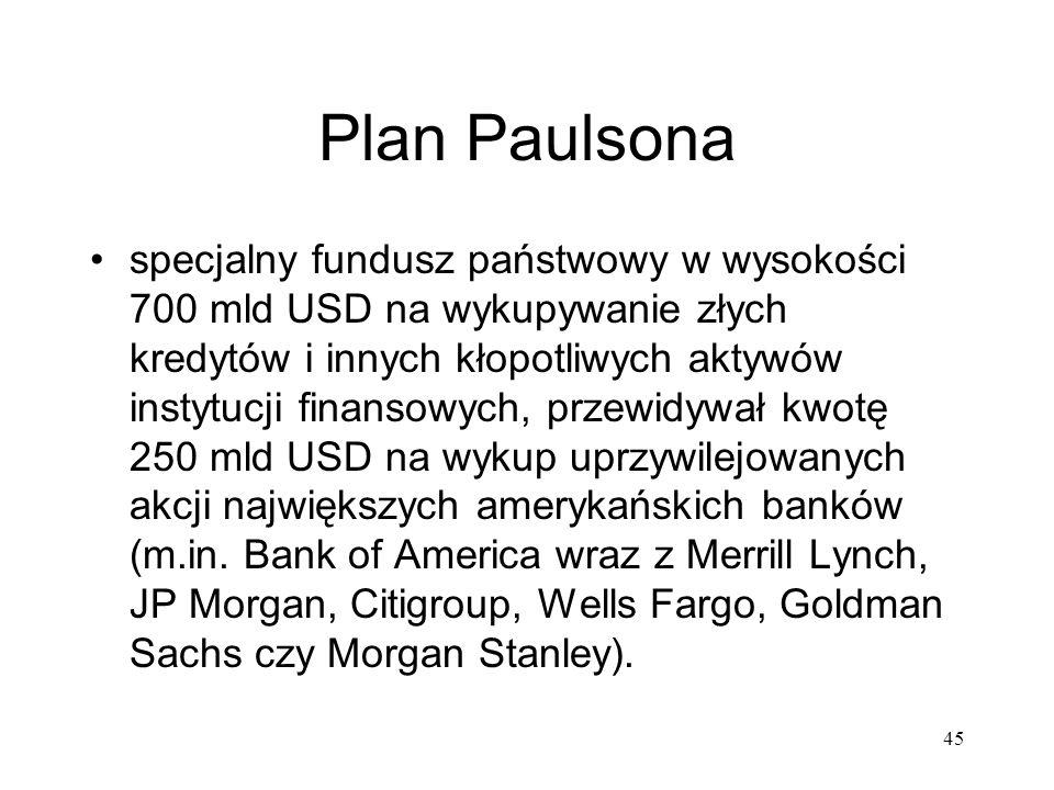45 Plan Paulsona specjalny fundusz państwowy w wysokości 700 mld USD na wykupywanie złych kredytów i innych kłopotliwych aktywów instytucji finansowyc