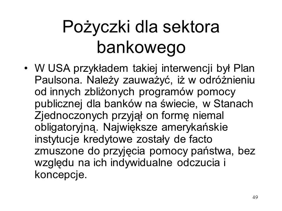 49 Pożyczki dla sektora bankowego W USA przykładem takiej interwencji był Plan Paulsona. Należy zauważyć, iż w odróżnieniu od innych zbliżonych progra