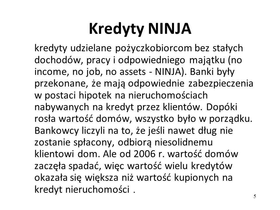 5 Kredyty NINJA kredyty udzielane pożyczkobiorcom bez stałych dochodów, pracy i odpowiedniego majątku (no income, no job, no assets - NINJA). Banki by