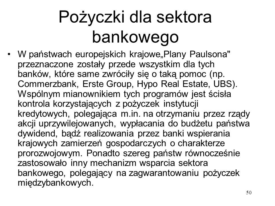 50 Pożyczki dla sektora bankowego W państwach europejskich krajowePlany Paulsona