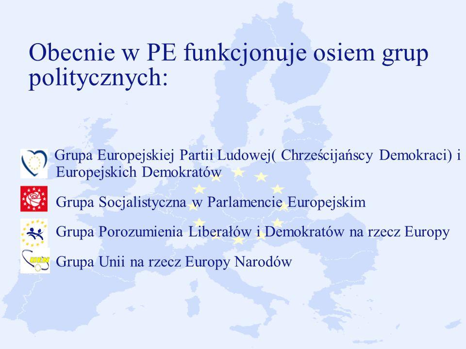 Obecnie w PE funkcjonuje osiem grup politycznych: Grupa Europejskiej Partii Ludowej( Chrześcijańscy Demokraci) i Europejskich Demokratów Grupa Socjalistyczna w Parlamencie Europejskim Grupa Porozumienia Liberałów i Demokratów na rzecz Europy Grupa Unii na rzecz Europy Narodów