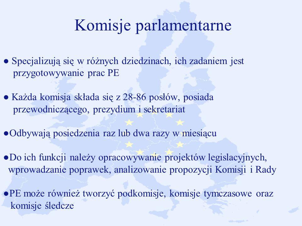 Komisje parlamentarne Specjalizują się w różnych dziedzinach, ich zadaniem jest przygotowywanie prac PE Każda komisja składa się z 28-86 posłów, posiada przewodniczącego, prezydium i sekretariatOdbywają posiedzenia raz lub dwa razy w miesiącu Do ich funkcji należy opracowywanie projektów legislacyjnych, wprowadzanie poprawek, analizowanie propozycji Komisji i Rady PE może również tworzyć podkomisje, komisje tymczasowe oraz komisje śledcze