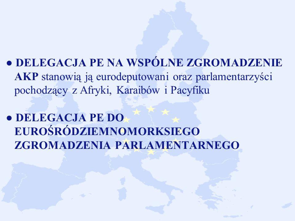 DELEGACJA PE NA WSPÓLNE ZGROMADZENIE AKP stanowią ją eurodeputowani oraz parlamentarzyści pochodzący z Afryki, Karaibów i Pacyfiku DELEGACJA PE DO EUROŚRÓDZIEMNOMORKSIEGO ZGROMADZENIA PARLAMENTARNEGO
