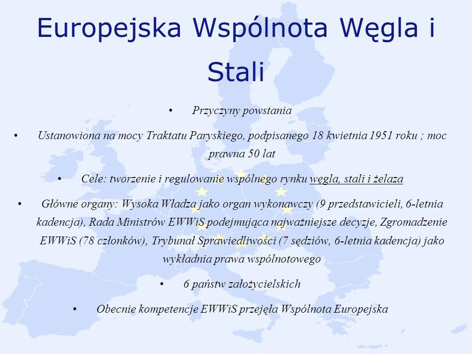 Europejska Wspólnota Węgla i Stali Przyczyny powstania Ustanowiona na mocy Traktatu Paryskiego, podpisanego 18 kwietnia 1951 roku ; moc prawna 50 lat