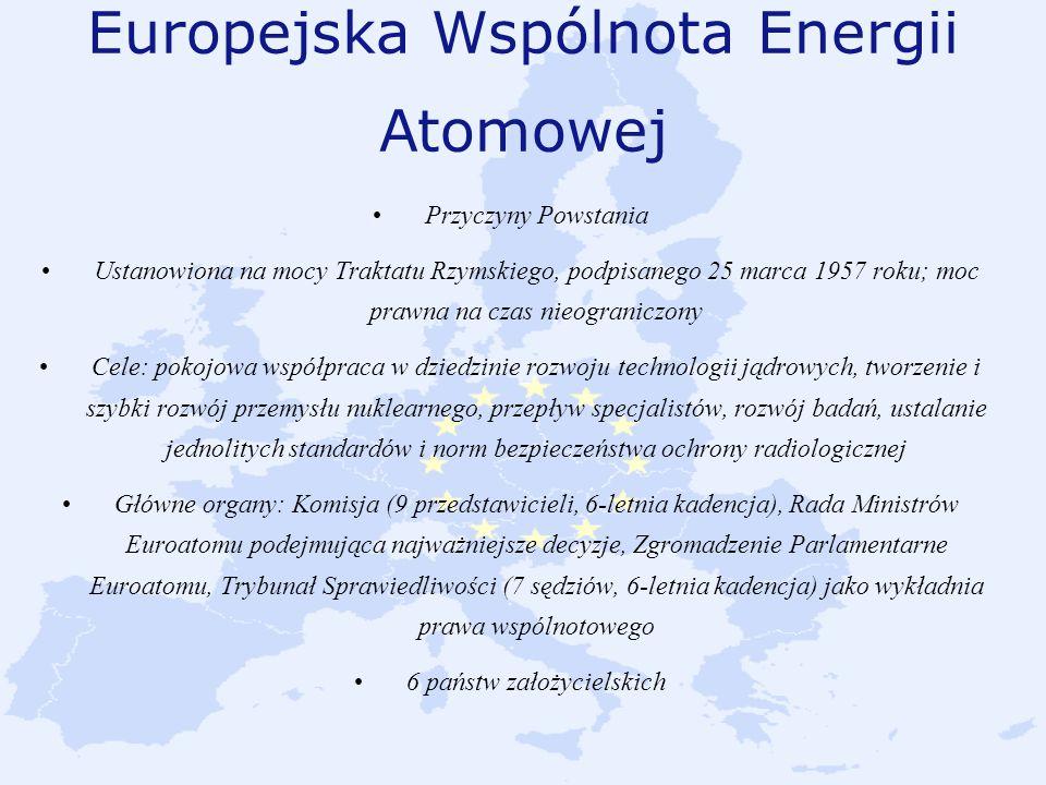 Europejska Wspólnota Energii Atomowej Przyczyny Powstania Ustanowiona na mocy Traktatu Rzymskiego, podpisanego 25 marca 1957 roku; moc prawna na czas