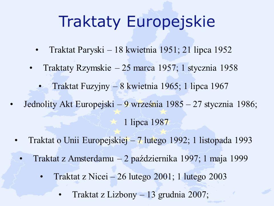Traktaty Europejskie Traktat Paryski – 18 kwietnia 1951; 21 lipca 1952 Traktaty Rzymskie – 25 marca 1957; 1 stycznia 1958 Traktat Fuzyjny – 8 kwietnia