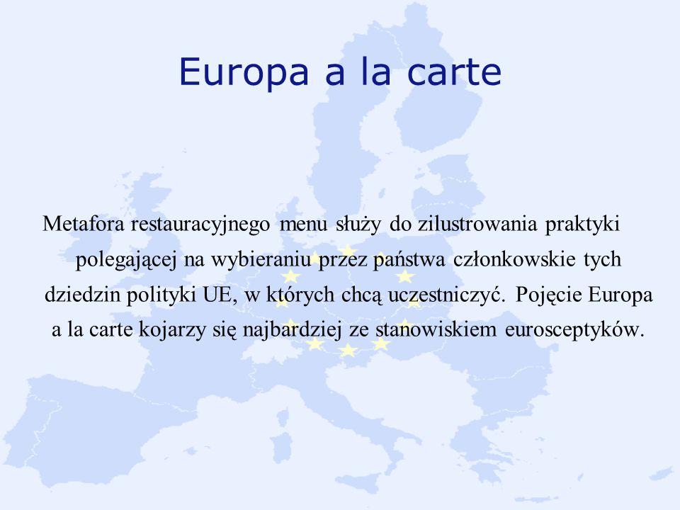Europa a la carte Metafora restauracyjnego menu służy do zilustrowania praktyki polegającej na wybieraniu przez państwa członkowskie tych dziedzin pol