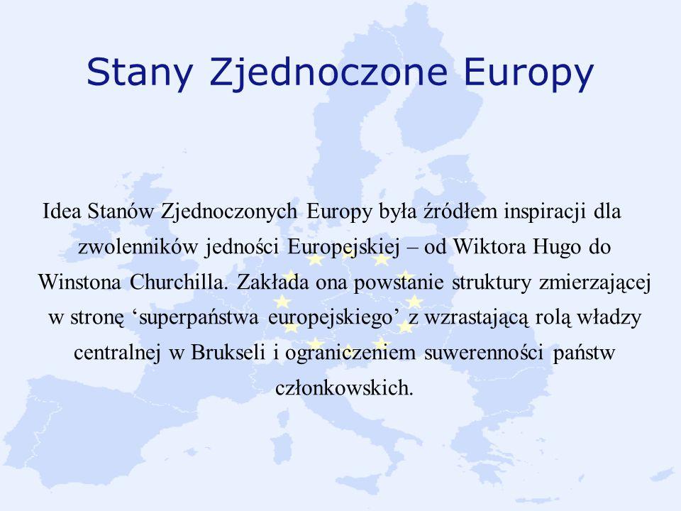 Stany Zjednoczone Europy Idea Stanów Zjednoczonych Europy była źródłem inspiracji dla zwolenników jedności Europejskiej – od Wiktora Hugo do Winstona